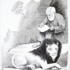 Man, lion, etching, 21x8 cm. £160