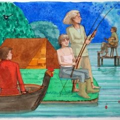 Fishing, water colour, 50x70 cm. £1800