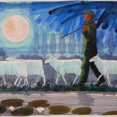 Lheure du berger, water colour, 50x70 cm. £1800