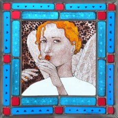 Angel, stained glass panel, 30x30 cm., £550