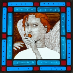 Angel, stained glass panel, 30x30 cm. £550