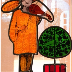 Boy with rebec, stained glass on plinth, 43x27x9.5 cm.  £550