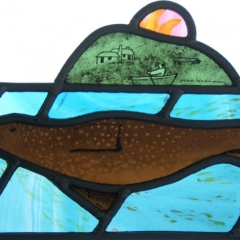 Seal, Stained Glass panel, 16x20cm. £230