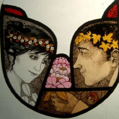 Shepherd and his love, stained glass panel, 19x21 cm. £250