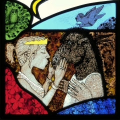 Kiss, stained glass panel, 25x25-cm. £495