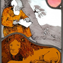 Man, lion, stained glass panel, 23x19 cm. £230
