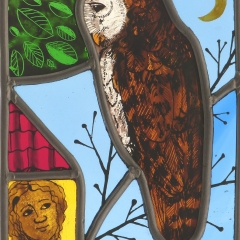 Owl, stained glass panel, 22x17 cm. £230