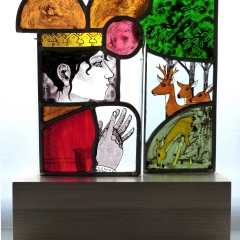 Queen counting her deer, stained glass panels on wooden plinth, 37 x27x9 cm. £550