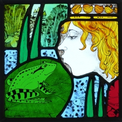 Princess and frog, stained glass panel, 25x25cm. £495