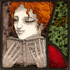 Reader I, stained glass panel, 17x17 cm. £230