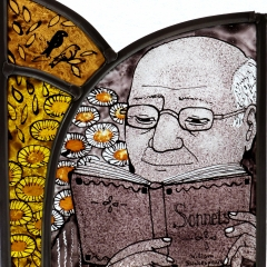 Reader II, stained glass panel, 20x17.5 cm. £230