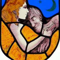 Reading in bed, stained glass panel, 24.5x21 cm. £275