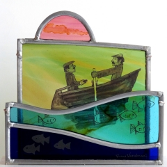 Rowers, stained glass panels on plinth, 28x22x9 cm.  £385