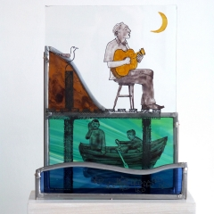Singing the blues, stained glass panels on plinth, 34x21x9 cm. £425