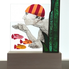 Swimmer III, stained glass on plinth, 39x26x9.5 cm.  £550
