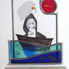 Voyage, stained glass panels on plinth, 36x23x9.5 cm. £410