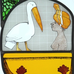 Woman with pelican, stained glass panel, 28x20 cm. £275