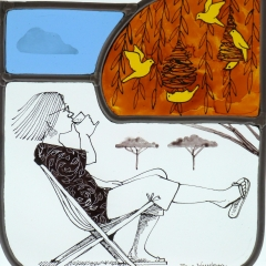 Woman with yellow birds, stained glass panel, 21x19 cm. £250