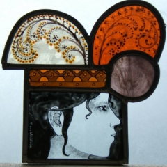 Small Queen, Stained Glass panel, 17.5x18cm, £250