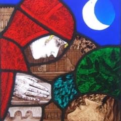 Balcony scene. Stained glass panel, 44x29 cm, £575