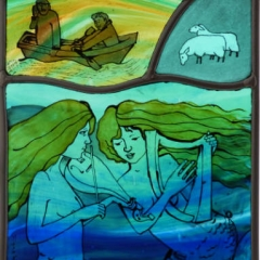 Siren song, stained glass panel, 27.5x18.5 cm. £250