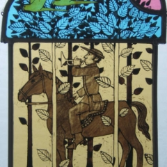 Herald, stained glass panel, 25.5x19 cm. £250
