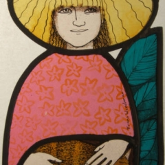 Cat lady, stained glass panel, 25x16 cm. £230