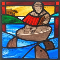 Music to the seals, stained glass panel, 30x30 cm. £550