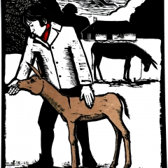 Mr. Coleridge, poet, and young ass, wood cut, 49x42 cm. £320