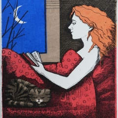 Reading with cat, etching with wood cut, 21x18 cm., £ 160